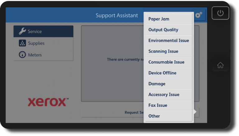 Support Service App on Screen